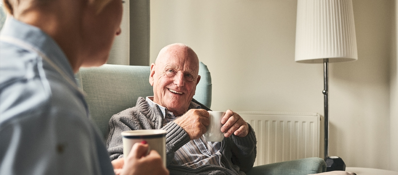 carehome resident smiling
